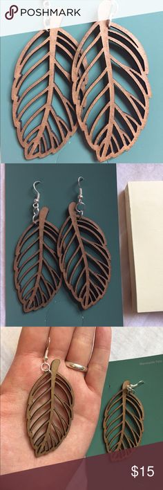 Wood leaf earrings Handmade wood cut out leaf earrings. Check out my Etsy CreationCetacean for more jewelry and cheaper prices! Tags: leaves, woods, nature, forest Jewelry Earrings