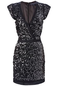 French Connection Lucinda Sequin Capped Sleeve Dress in Black Wore this to class reunion--total hit
