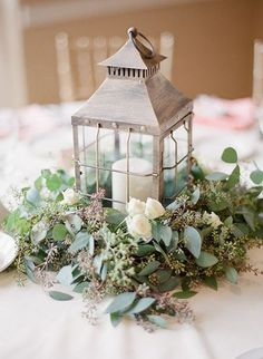 trending lantern wedding centerpiece with greenery – wedding centerpieces Eucalyptus Centerpiece, Lantern Centerpiece Wedding, Greenery Centerpiece, Wedding Lanterns, Wedding Table Decorations, Centerpiece Ideas, Seeded Eucalyptus, Lanterns For Weddings, Wedding Guestbook Table