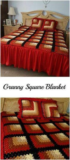Transcendent Crochet a Solid Granny Square Ideas. Inconceivable Crochet a Solid Granny Square Ideas. Easy Crochet Blanket, Crochet Bedspread, Crochet Quilt, Crochet Blanket Patterns, Knitted Blankets, Granny Square Crochet Pattern, Crochet Squares, Crochet Granny, Granny Square Tutorial