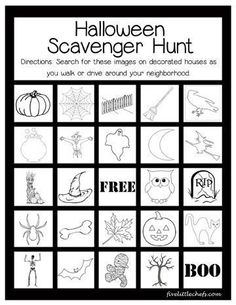 A fun Halloween scavenger hunt played on a walk or in the car from fivelittlechefs.com. Find these images on decorated houses or yards around your neighborhood. printable                                                                                                                                                                                 Más