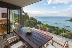 Edwards Residence by Creative Arch Outdoor Tables, Outdoor Spaces, Outdoor Decor, Waiheke Island, New Builds, Sun Lounger, Landscape Design, Patio, Outdoor Furniture
