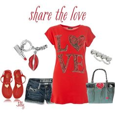 """""""Love""""... Red T-Shirt, created by jillgrimm on Polyvore"""