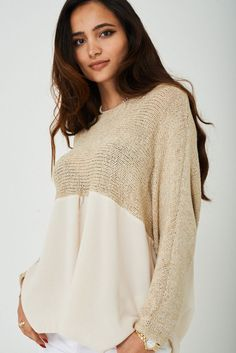 Womens Metallic Knit Chiffon Hem Loose Baggy Floaty Jumper Top Beige Gold 8-14  #Unbranded #JumperTop #Party Party Dresses, Jumper, Winter Fashion, Chiffon, Metallic, Beige, Pullover, Clothes For Women, Knitting