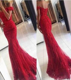 Sexy Off Shoulder Red Lace Prom Dresses 2017 Mermaid Appliques Buttons Back Long Prom Party Gowns Vestido De Noche