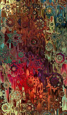 Fabric Designer Created Textile Art Panel Fiber Art Kaleidoscope Stars Cotton Fabric