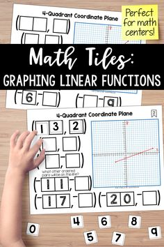 Foster a true understanding of graphing ordered pair and linear functions. Students must place 10 number tiles (0-9) on the Time to Tile cards in order to correctly complete 6 ordered pairs. These math tiles are perfect for math centers.
