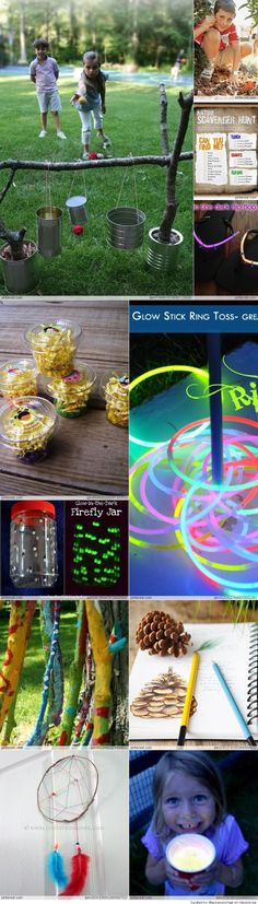 Summer Camp crafts for Kids - love the glow in the dark ring toss idea. I have TONS of necklaces we could use! Camping Parties, Camping Games, Camping Theme, Camping Activities, Summer Activities, Outdoor Activities, Family Activities, Camping Crafts For Kids, Summer Camp Crafts