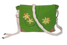 sac bandouliere en coton et toile de jute, motif peint à la main.