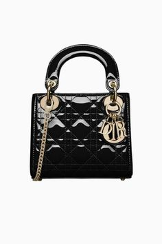 Mini Lady Dior bag in black patent calfskin