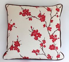 Embroidered Red and Pink Cherry Blossom Pillow with Piping contemporary pillows