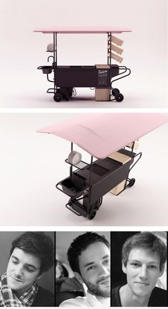 Dinettes by Benjamin Charles, Simon Joyau, Thibault Vallet (France) Dinettes is the opposite of the idea of a massive, energy consuming food truck. It is made of two trolleys which contain all the equipment. To create a compact, lightweight structure to be easily carried around, during the assemblage the trolleys make up the basic structural parts of the entire set. Thanks to its flexibility, Dinettes is very adaptable to cook different kinds of food (hotdogs, BBQ…).