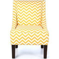 Yellow Chevron Accent Chair