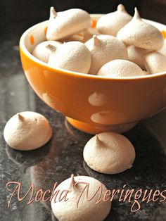 Mocha meringues are a perfect use for extra egg whites. Full of flavor, this allergen-friendly mocha meringues recipe is easy plus dairy and gluten free. Easy Desserts, Delicious Desserts, Yummy Food, Cookie Recipes, Dessert Recipes, Meringues Recipe, How Sweet Eats, Yummy Cookies, Food Menu