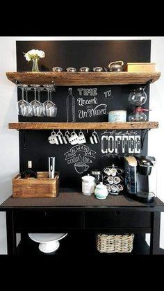 Small Kitchen Bar, Coffee Bars In Kitchen, Coffee Bar Home, Coffee Bar Design, Coffee Shop Bar, Cafe Bar, Office Coffee Station, Coffee Stations, Design Café