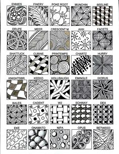 drawn pattern sheet of 30 common official zentangle patterns Zentangle Drawings, Doodles Zentangles, Doodle Drawings, Tangle Doodle, Zen Doodle, Doodle Art, Zantangle Art, Zen Art, Doodle Patterns