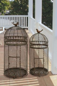 Coastal Living Decor Metal Bird Cages - Set of 2 Pretty Birds, Beautiful Birds, Bird In A Cage, Antique Bird Cages, The Caged Bird Sings, Any Birds, Metal Birds, Bird Boxes, Bird Feathers