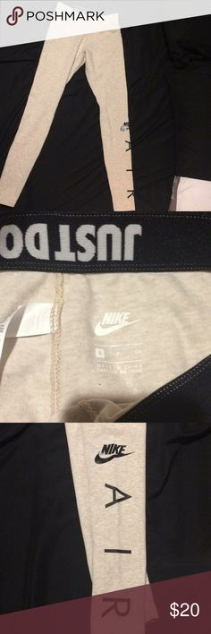 Nike Leggings Full-length Nike leggings with Nike Air logo on left pant leg. These are a cream-tan color and are the thicker style of leggings made of 57% cotton, 32% polyester, and 11% Spandex. Super cute to wear to the gym or as a casual sporty look. No pilling or stains, were only worn to try on. Nike Pants Leggings