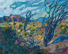 Borrego Springs super bloom desert landscape painting by oil painter Erin Hanson. Work Inspiration, Painting Inspiration, Gogh The Starry Night, Erin Hanson, Spring Wildflowers, Oil Painters, Contemporary Landscape, Impressionism, Landscape Paintings