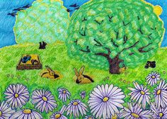 Backyard Bunnies - A memory from yourth - by Suzanne Berton.  A colored drawing on watercolour paper.