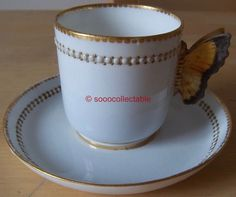 c1875 ROYAL WORCESTER WHITE & ENAMEL 8906 BUTTERFLY handle CUP & SAUCER DUO