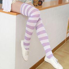 Japanese cute striped silk stockings - Thumbnail 1 Striped Stockings, Silk Stockings, Patterned Socks, Striped Socks, Violet Pastel, Design Mignon, Girls Socks, Fashion Socks, Egirl Fashion