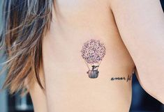 Hydrangea balloon on the right side ribcage.