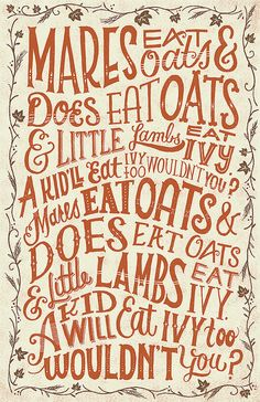 Mares Eat Oats.. by Mary Kate McDevitt, via Flickr