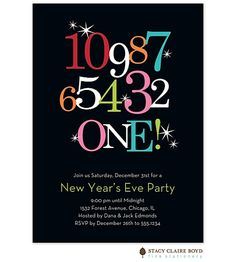 Countdown Invitation for Holiday-New Year's Eve Invitations by Stacy Claire Boyd New Years Eve Birthday Party, First Birthday Parties, Nye Party, Birthday Ideas, New Years Eve Invitations, Holiday Party Invitations, New Year's Eve Countdown, Kids New Years Eve, New Year's Eve 2019