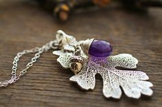 Thousand forests necklace  real oak leaf and by RubyRobinBoutique