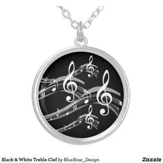 Black & White Treble Clef Silver Plated Necklace Treble Clef, Black Felt, Colorful Backgrounds, Silver Plate, Plating, Black And White, Sterling Silver, Chain, Accessories