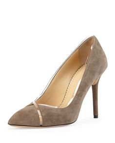 Sheryl Suede & PVC Pump, Gray by Charlotte Olympia at Neiman Marcus.