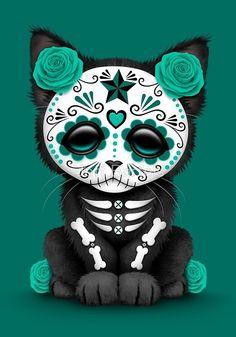 Diamond Painting Skull and crossbones cat rose Paint with Diamonds Art Crystal Craft Decor Day Of The Dead Drawing, Day Of The Dead Art, Drawing Dead, Sugar Skull Cat, Sugar Skull Tattoos, Sugar Skulls, Candy Skulls, La Muerte Tattoo, Tableau Pop Art