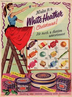 christmas Vintage Christmas Card Love the stylish young gal in her pretty red circle skirt in this fun Christmas candy ad. Old Advertisements, Retro Advertising, Retro Ads, Vintage Candy, Vintage Holiday, Vintage Food, Vintage Travel, Retro Recipes, Vintage Recipes
