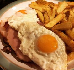 Ham egg and chips with home made honey roast ham and home made chips.