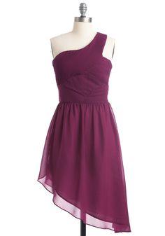 Chic and Oblique Dress - Short, Purple, Solid, Pleats, One Shoulder, Party, A-line, Mini
