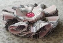 Toddler/Girls Pink Gray White Fabric Bow with by TwoPurpleThumbs