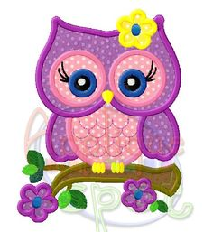 Cute Girly Owl Flowers Spring 4x4 5x7 6x10 Applique Design Embroidery Machine -Instant Download File