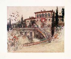 1905 Color Print Villa Palmieri Goff Fiesole Italy Florence Tuscany Garden XGYA2