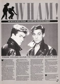George Michael Songs, Wake Me Up Before, Andrew Ridgeley, 80s Pop, Choose Life, Magazine Articles, Music Icon, Record Producer, Album Covers