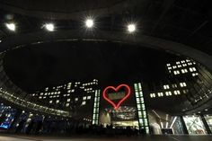 Vaclav Havel honoured with giant neon heart at the European Parliament building in Brussels