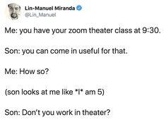 Best Tweets, Funny Tweets, Funny Relatable Memes, Funny Quotes, Hamilton Lin Manuel Miranda, Lin Manuel Miranda Quotes, Lin Manual Miranda, Theatre Geek, Theater