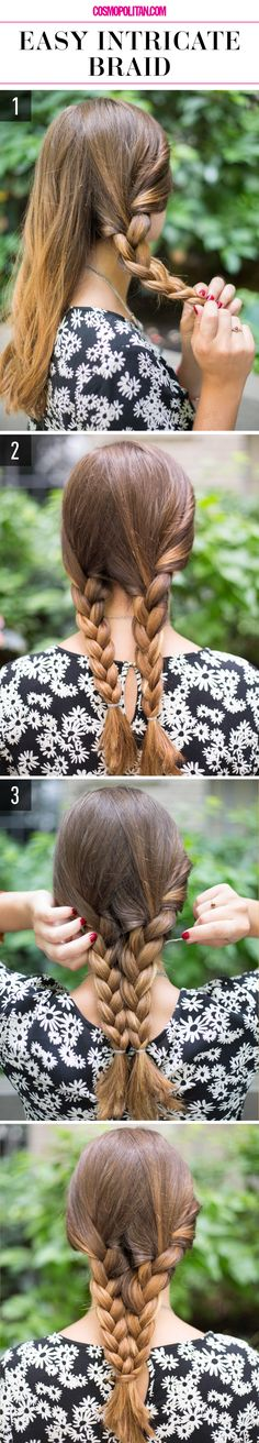 15 Super-Easy Hairstyles For When You're Feeling Particularly Lazy- Easy Intricate Braid- More than your everyday french braid, this style is sure to get you compliments wherever you walk. Get more hair tricks for those days you just can't get out of bed at redbookmag.com.
