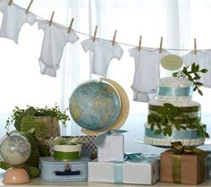 Welcome to the world/ global baby shower theme... decorate with vintage maps (maybe of places the parents have been/ lived) and globes