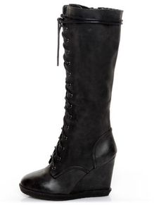 Qupid Owner 05 Black Lace-Up Knee High Wedge Boots- I need these boots in my life