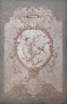 Pascal Amblard's decorative panels absolutely perfect Saved by C Beau Chinoiserie, Grisaille, Decorative Panels, Painted Furniture, Art Decor, Backdrops, Vintage World Maps, Shabby Chic, Hand Painted