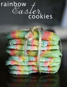 The Color Issue: Colorful Easter Sugar Cookies #cookies #spring #easter #recipe #rainbow