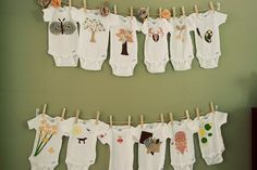 Baby Shower Craft by shutterlylovely, via Flickr [beautiful baby shower... guests crafted onesies instead of traditional games]