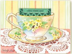 Vintage Floral Blank Teacup Greeting Card from Kimberlys Tea Cottage