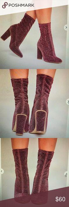 Glitter pink boots. Worn ONCE, they look more purple than pink to me Missguided Shoes Ankle Boots & Booties